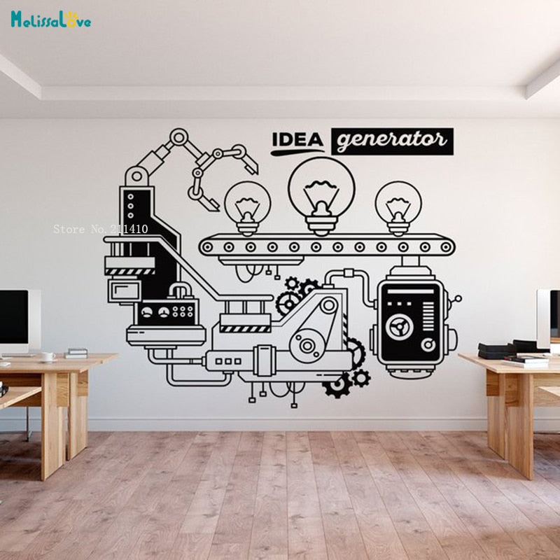 Idea Generator Office Wall Decal Supplies Business Process Decoration Removable Murals Vinyl New Design Art Sticker YT1455