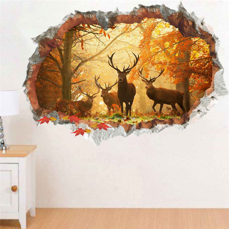 3d vivid forest deer wall decals  living room office home decor pvc landscape wall stickers diy mural art christmas posters