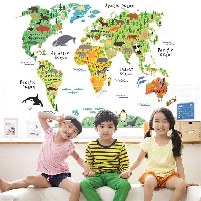 animal world map wall stickers living room bedroom office home decoration 037 wall decal mural diy office wall art