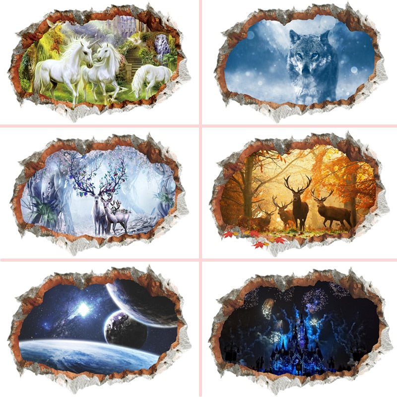 3d Broken Wall Hole Wall Stickers For Office Living Room Bedroom Home Decoration Diy Animal Deer Wolf Scenery Mural Art Decals