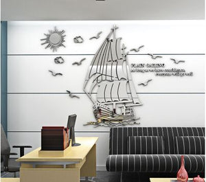Boat pattern 3D acrylic stereo wall sticker Living room bedroom office enterprise Inspirational background Mirror wallpaper