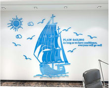 Load image into Gallery viewer, Boat pattern 3D acrylic stereo wall sticker Living room bedroom office enterprise Inspirational background Mirror wallpaper