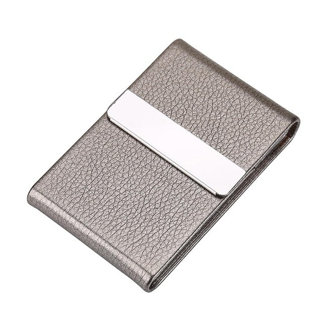 Portable Men Metal Leather Card Case Holder for Business ID Card Storage