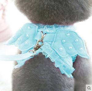 Pet Cat Harness Safety Walking Cat Vest Harness With Lead Leash Angel Wings Lace Peals Design Leash For Pet Harness Belt 20Q