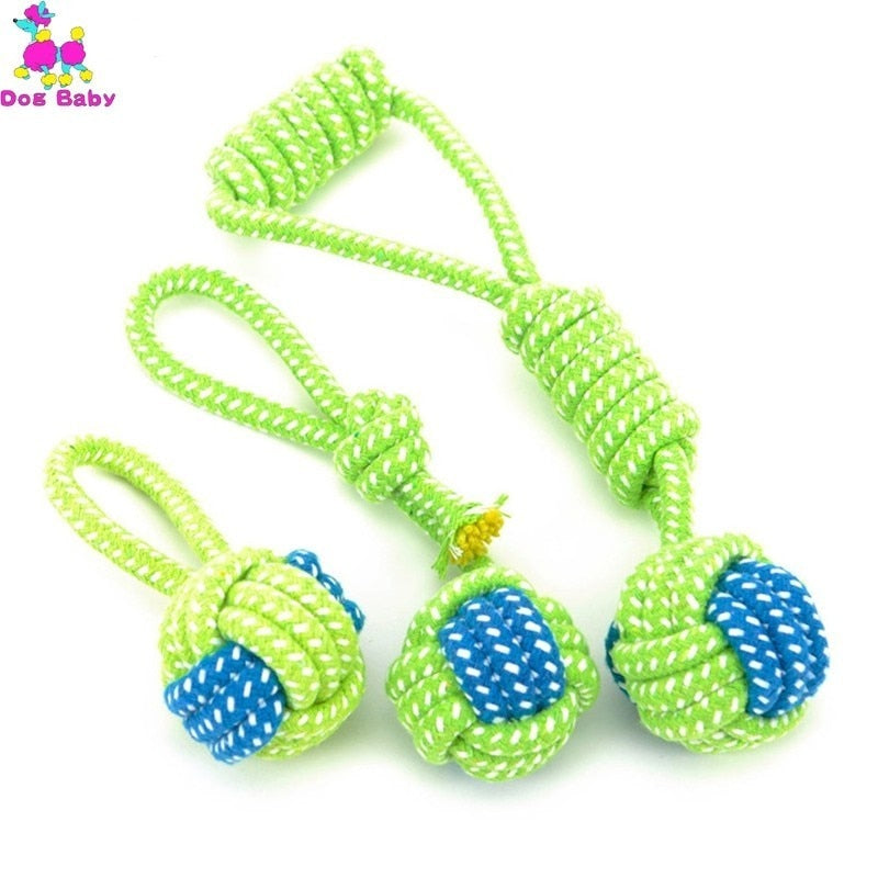 1PC Pet Supply Dog Toys Dogs Chew Teeth Clean Outdoor Training Fun Playing Green Rope Ball Toy For Large Small Dog Cat