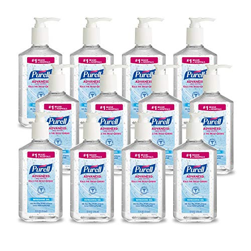 12-Pack PURELL 70% Ethyl Alcohol Sanitizer Refreshing Gel, Clean Scent, 12 fl oz Pump Bottles
