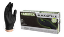 LARGE AMMEX Medical Black Nitrile Gloves, Box of 100, 4 mil Size, Latex Free, Powder Free, Textured, Disposable, Non-Sterile