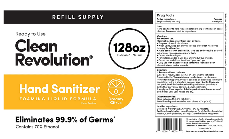 Clean Revolution Liquid Hand Sanitizer {70% Alcohol}, Gallon Bottle, 128 Fluid Ounce Ready to Use Formula