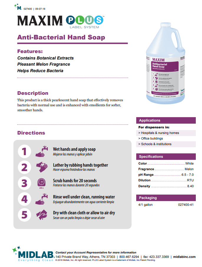 Maxim Anti-Bacterial Hand Soap Gallon