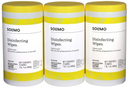 Amazon Brand - 6-Pack Solimo Disinfecting Wipes, Lemon Scent, Sanitizes/Cleans/Disinfects/Deodorizes, 75 Wipes Each (Pack of 6)