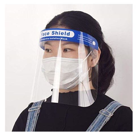 10-Pack Safety Face Shield, Facial and Eye Protection from Spray, Splashes, & Dust, Personal Protective Equipment