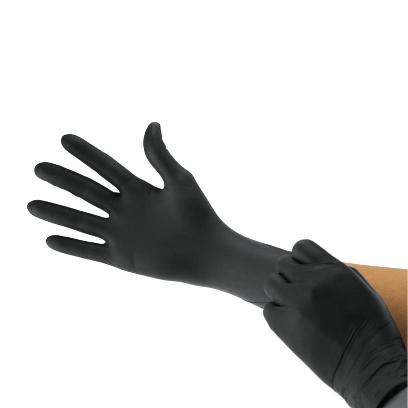 X-LARGE - Black Carbon Nitrile Cranberry Powder Free Exam Glove, 3.2 mil, 15 Cents/glove (Pack of 200)