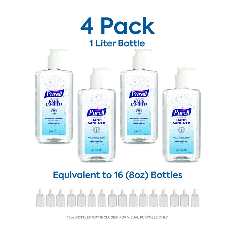 4-Pack PURELL (1-Liter) 33.8oz Bottle Hand Sanitizer Refreshing Gel, Clean Scent, Pump Bottle (Pack of 4)