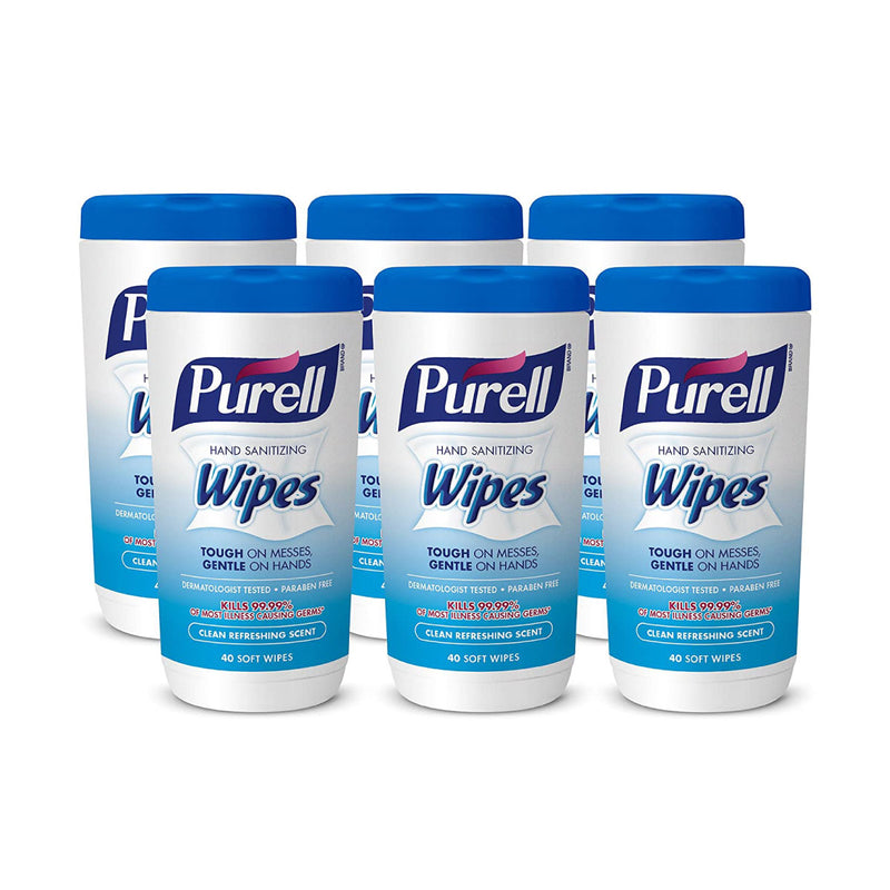 PURELL Hand Sanitizing Wipes, Clean Refreshing Scent, 40 Count Hand Wipes Canister (Pack of 6)