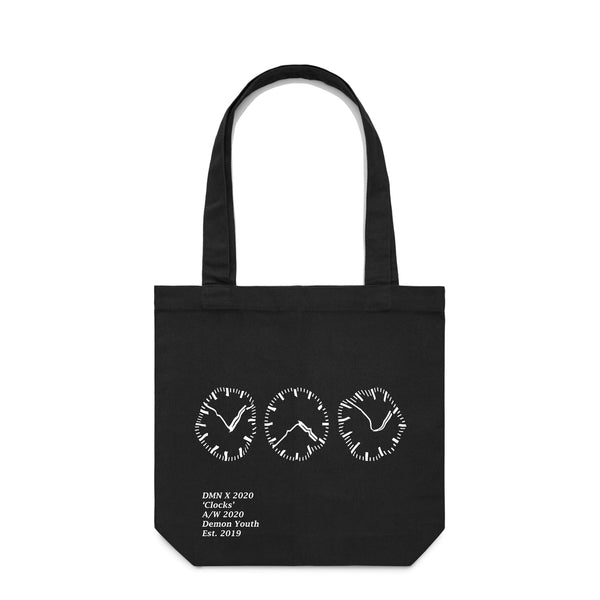 Clocks Black Tote Bag