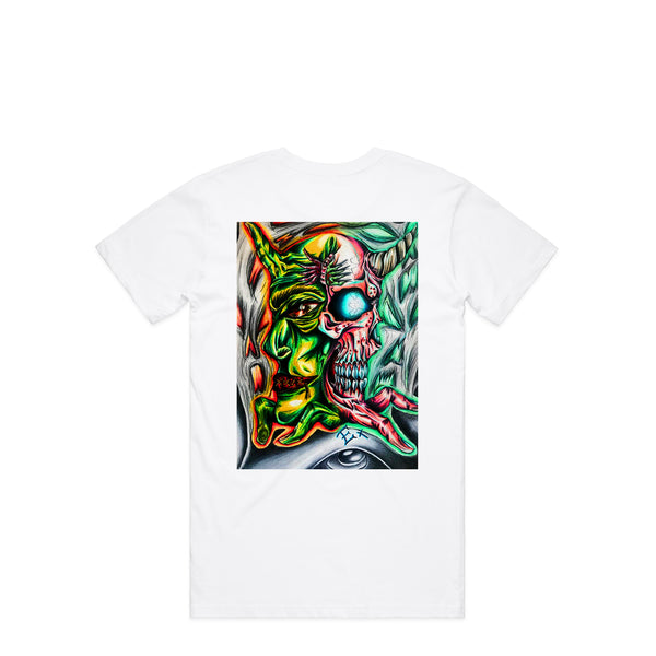 Abstract Evil White T-Shirt