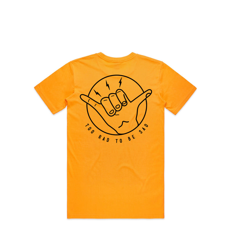 Too Rad To Be Sad Gold T-Shirt