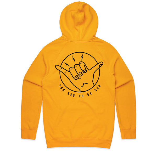 Too Rad To Be Sad Gold Hoodie