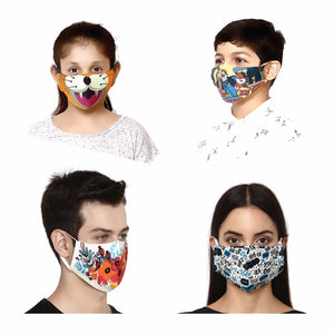 Pack of 4 (2 Adults , 2 Kids) - 100% Cotton Designer  Unisex Face Mask