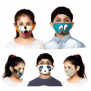 Pack of 5 - 100% Cotton Designer  Kids Face Mask