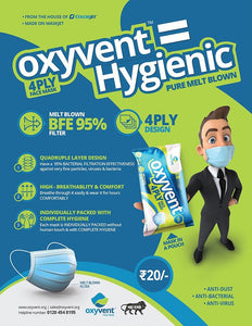 Oxyvent 4 Ply Surgical Face Mask, Single Piece Packing, Pack of 25