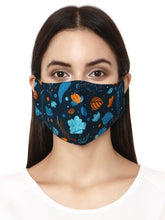 Load and play video in Gallery viewer, Dark Blue floral designer Face Mask
