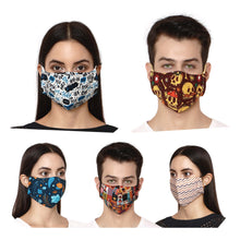 Load image into Gallery viewer, Pack of 5 - 100% Cotton Designer  Unisex Face Mask