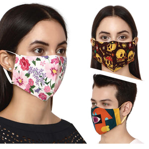 Pack of 3 - 100% Cotton Designer  Unisex Face Mask