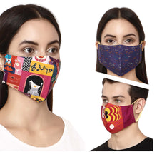 Load image into Gallery viewer, Pack of 3 - 100% Cotton Designer  Unisex Face Mask