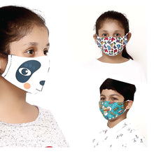 Load image into Gallery viewer, Pack of 3 - 100% Cotton Designer  Kids Face Mask