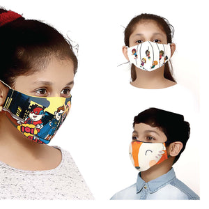 Pack of 3 - 100% Cotton Designer  Kids Face Mask