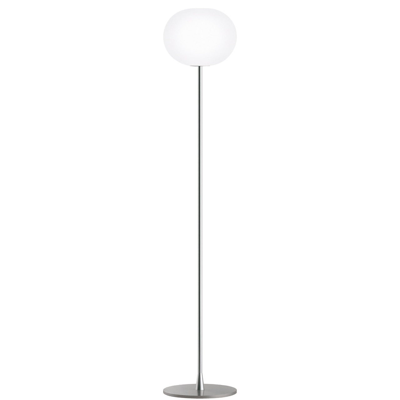 Glo-Ball Floor Dimmable Lamp in Silver and Black