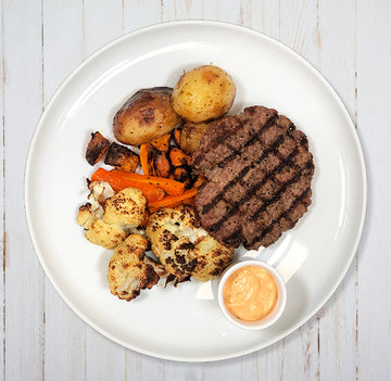 Grilled Beef Burger with Roast Potatoes, Veggies & Burger Sauce