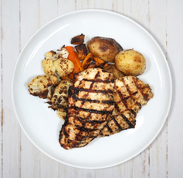 Grilled Chicken Breast with Roast Potatoes & Veggies