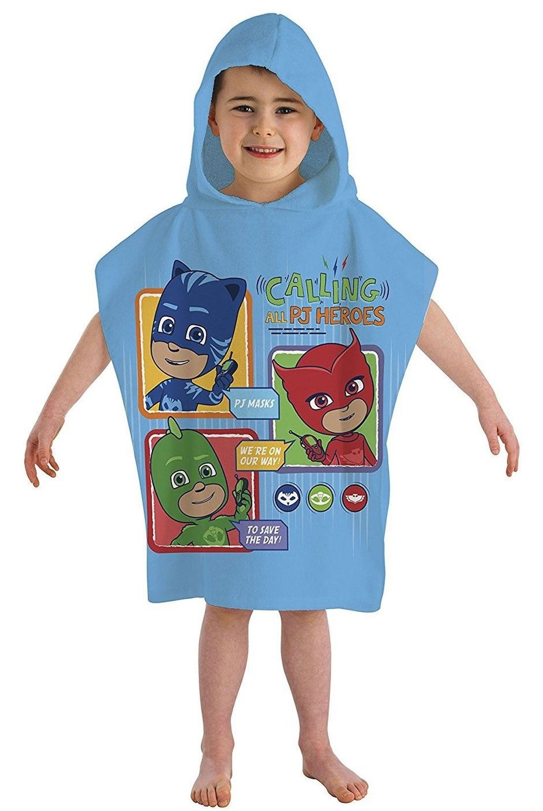 Kids PJ Masks Printed Hooded Poncho Towel