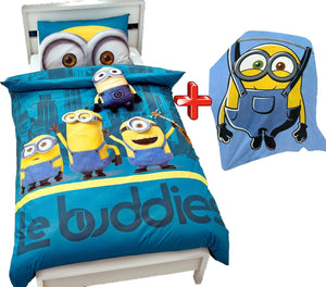 Kids Minnions Print Duvet Pillow Case And Blanket Set