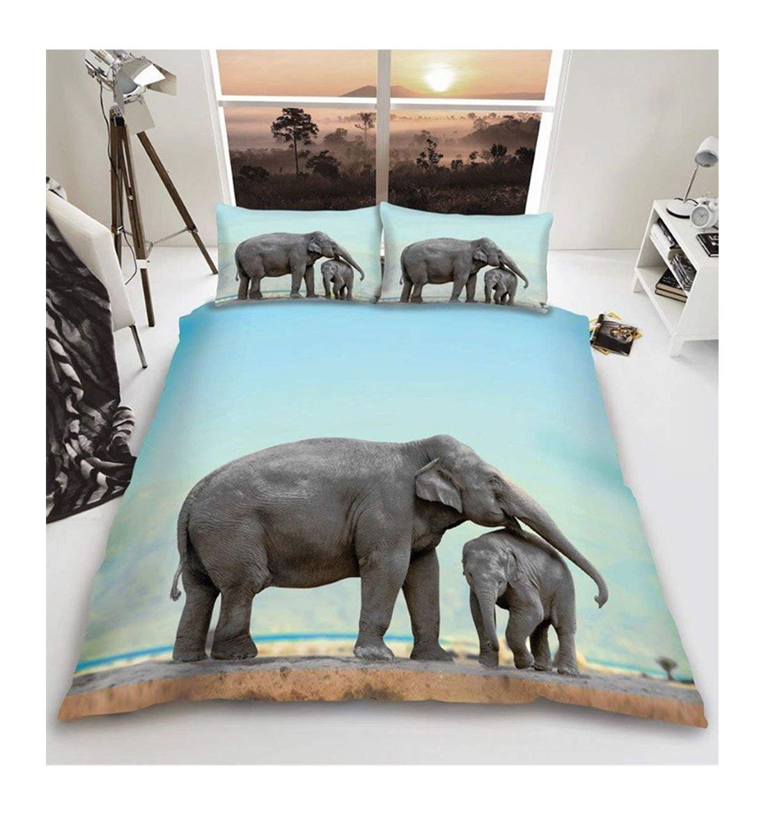 3D Elephant Printed Duvet Cover Bedding Set With Pillow Cases Double/King