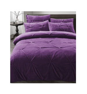 Luxury Soft Fleece Pleated Duvet Cover Pillow Cases Set