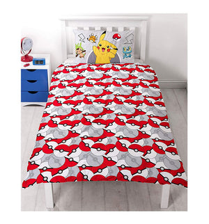Childs Pokemon Catch Reversible Duvet Pillow Case Set
