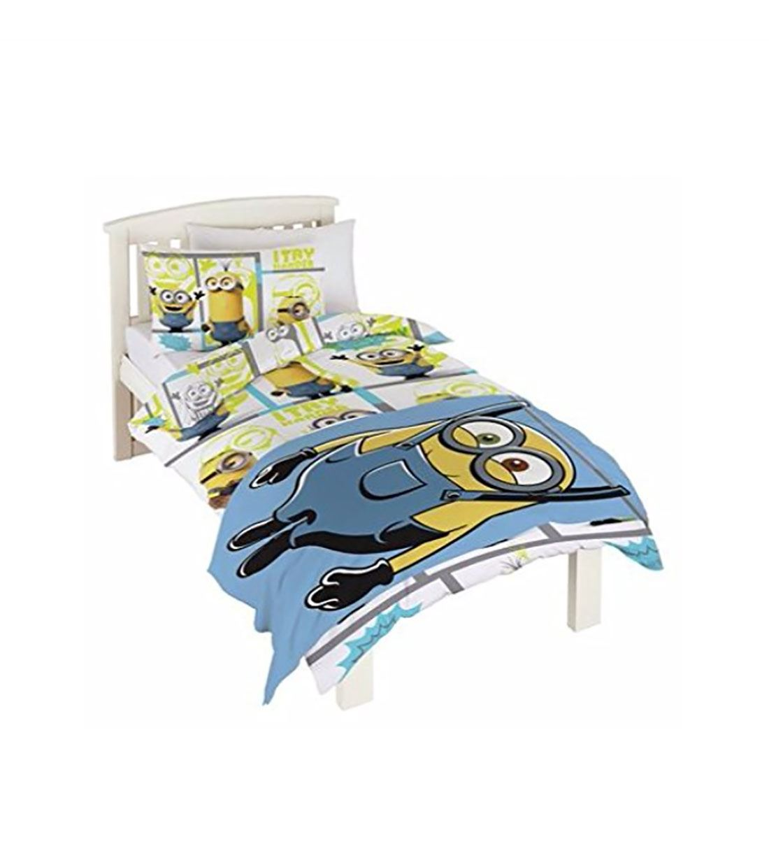 Children Minions Single Bedding Set With Free Fleece Blanket