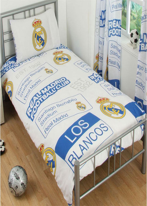 Real Madrid Football Club Logo Printed Duvet Pillow Case Set Single Size