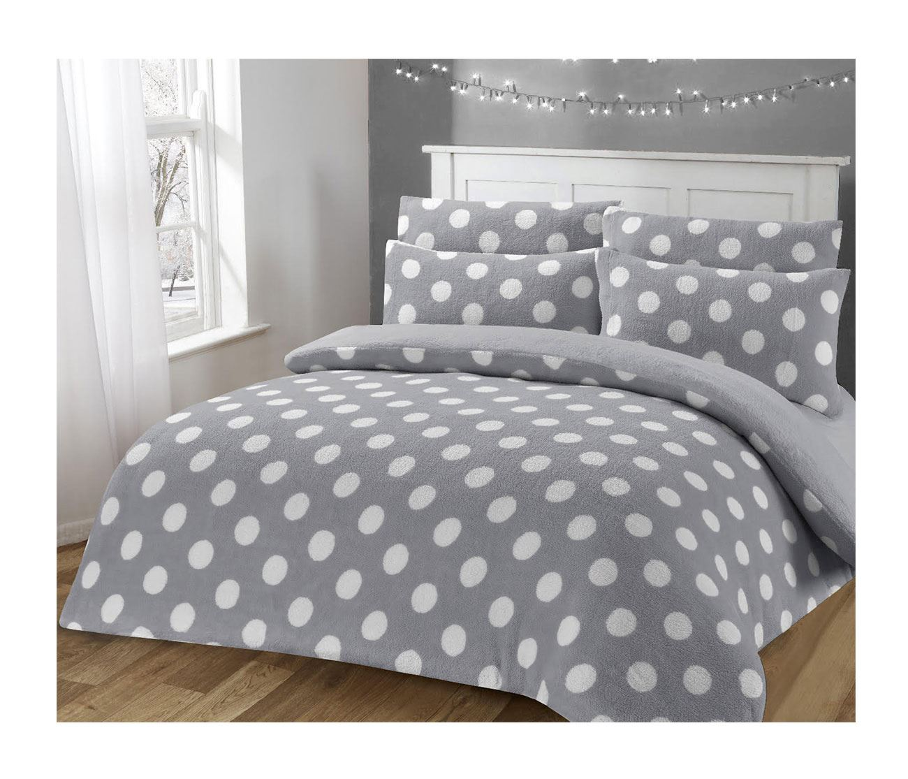 Elegant Style Polka Dot teddy Fleece Duvet Cover Set