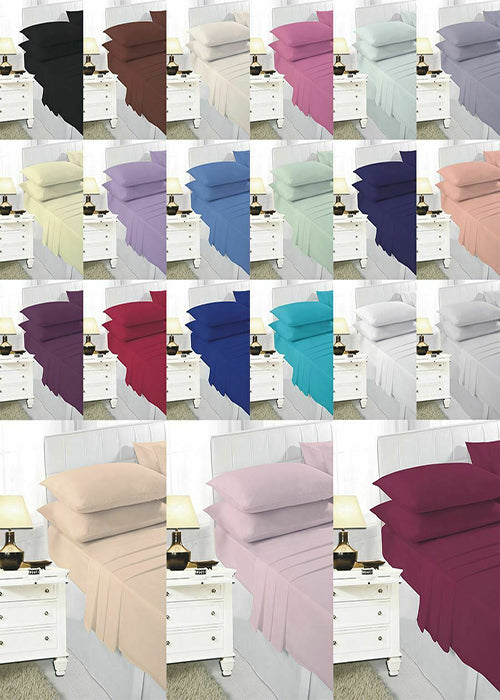 Plain Dyed Pair of Polycotton Housewife Pillow Case Luxurious Bedroom Pillow Set