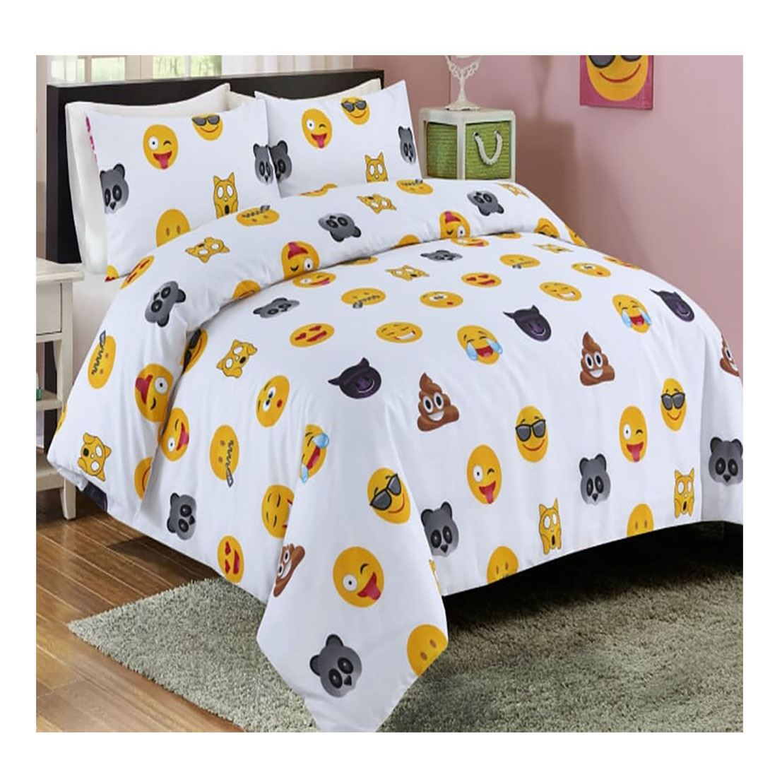 Icon Smiley Face Printed Reversible Duvet Cover Pillow Case Bedding Set