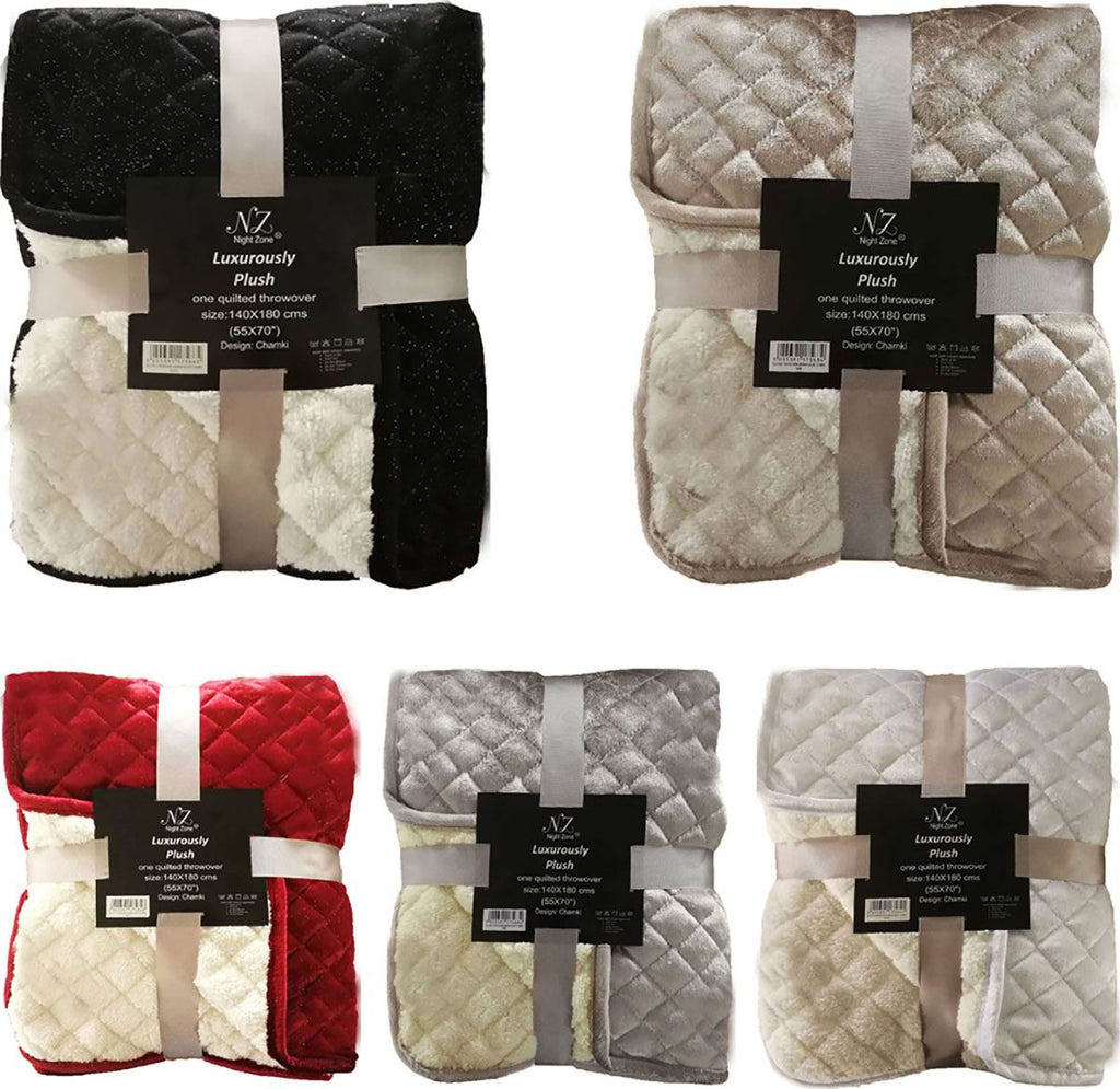 Sherpa Velvet With Glitter Plush Quilted Throws
