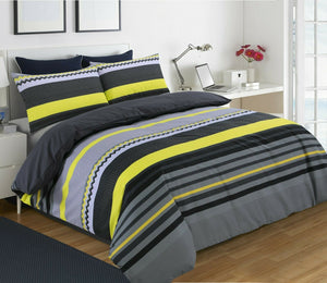 Benjamin Stripe Printed Reversible Duvet Cover Pillow Case Bedding Set