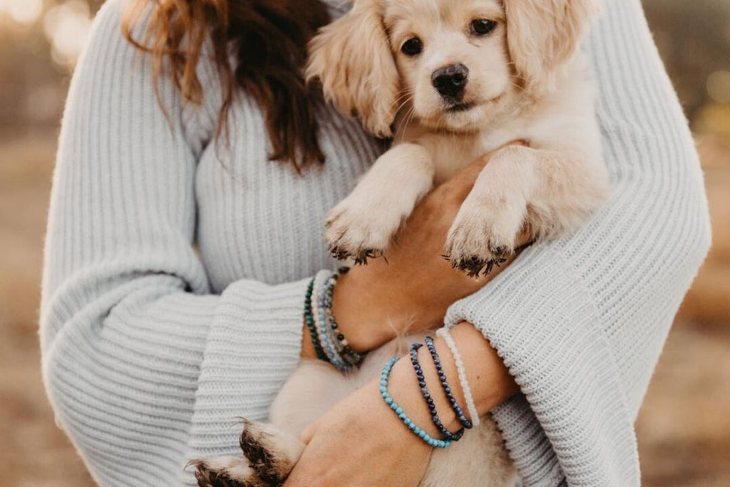 woman holding puppy wearing black tourmaline and other gemstone bracelets