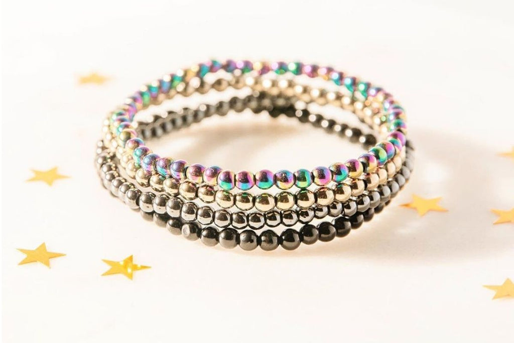 Collection of gemstone bracelets that protect against EMF's