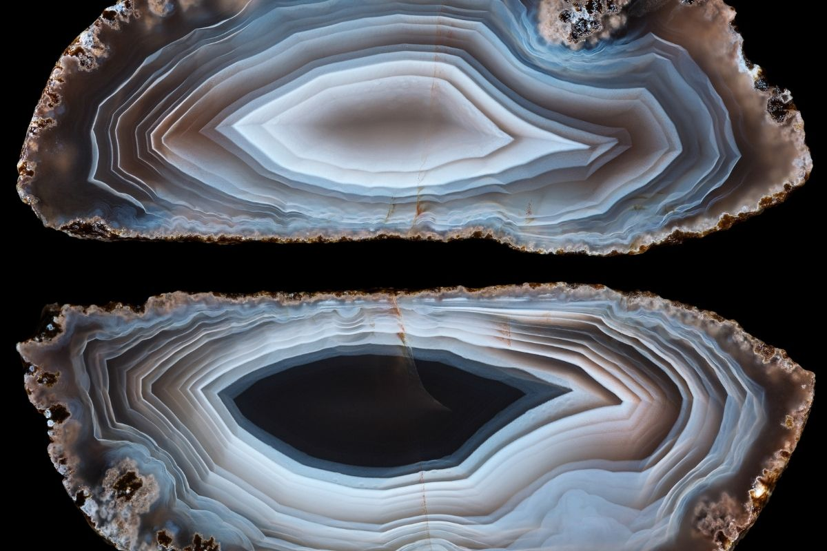 two halves of an agate stone