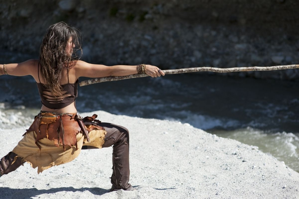 warrior woman with stick